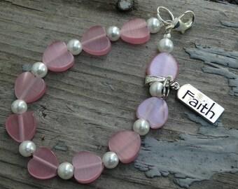 Pink Bracelet, Pink Heart Beads, Womens Bracelet, Breast Cancer Awareness, Gift for Her, Faith Bracelet, Breast Cancer Gift, Faith Charm