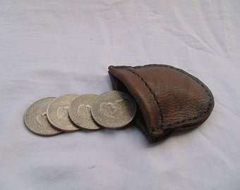 Leather Coin Purse with Magnetic Clasp