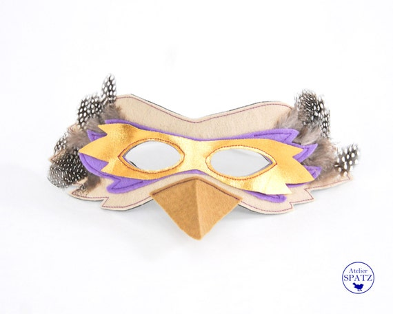 Bird Mask | Lilac Gold Hoopoe Mask | Raven Mask | Owl Mask - made from felt and real feathers to match Bird Capes | Kids Costume