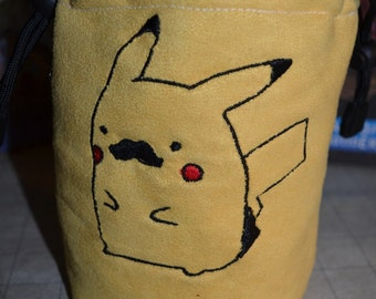 Dice Bag custom Embroidery Suede Yellow Pikachu Mustache Pokemon