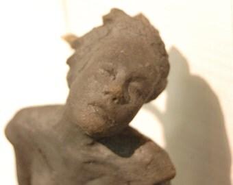 Muse of the wind - dark raku clay - 12x20x35cm