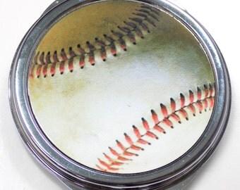 Baseball Inset Metal Compact Makeup Mirror Case MEN-0038