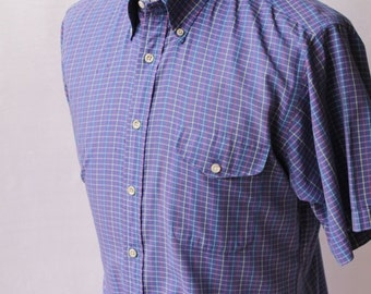 SALE Deep Periwinkle Blue Mini Plaid Check Stripe Long Sleeved Button Front Shirt  by Nordstrom size Large