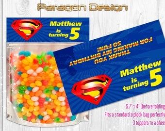 Superman - Custom Party Favor Bag Toppers - Printable Digital File