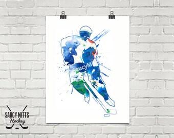 Hockey Watercolor Poster Print