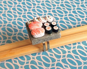 Sushi Ring - Polymer Clay Miniature Food Jewellery