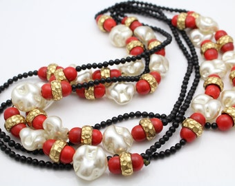 "Vintage 72"" Flapper-Length Beaded Necklace with Glass Beads and Faux Pearls. [8528]"