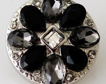 KB8010  Black Multi-Petaled Crystal Flower w/Clear Crystal Center
