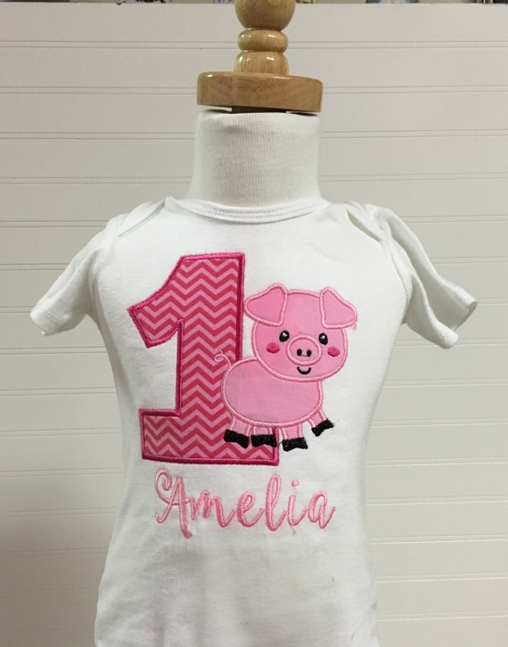 Pig barnyard farmyard birthday theme shirt, embroidered pig any number shirt, animal birthday theme, pig cow sheet horse birthday girl boy