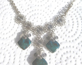 Peruvian Chrysacolla Stone Necklace #50