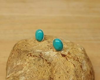 Sterling Silver Genuine Turquoise earrings. Oval Stud earrings. Post earrings. Reiki jewelry uk. December Birthstone. 8x6mm stone