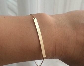 "14k solid gold 1.5"" X 3mm bracelet name bracelet message bracelet personolized bracelet"