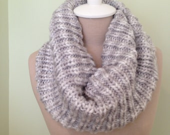 Silver Grey and White Wool and Acrylic Snood