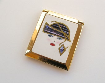 Vintage Art Deco Style Mirror Compact Gold Tone and Celluloid Mirror Compact