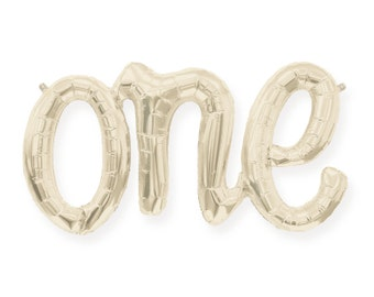 One Balloon (Champagne Gold) - First Birthday - 1st Boy or Girl Baby Gold Letter Balloons Banner Decoration 1 First Bday Ideas - White Ivory