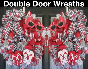 Double Door Wreaths, Summer Wreaths for double doors, Alabama Football Double Door wreaths, Outdoor wreaths, Flip Flop Wreath