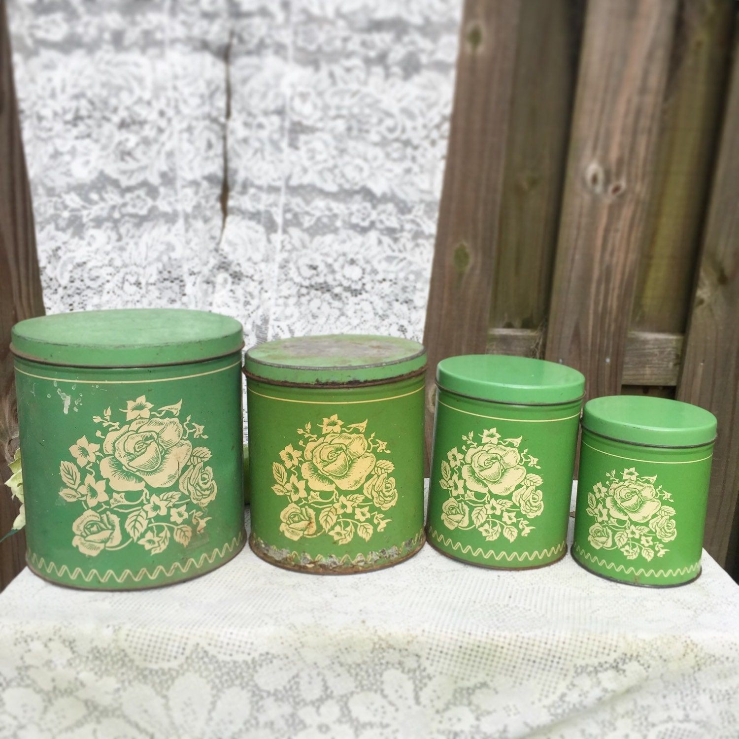 4 antique floral green canisters set tin shabby chic mid