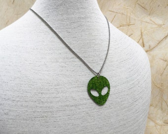 Up-cycled Recycled Aluminum Soda Can Necklace - Happy green alien Martian aluminum necklace