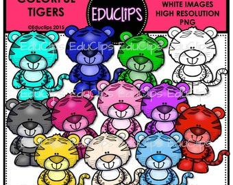 Colorful Tigers Clip Art Bundle