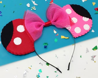 Mickey Mouse Clubhouse Themed Minnie and Mickey Mouse Ears Headband