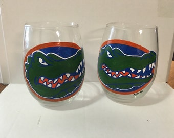 Hand Painted University of Florida Stemless Wine Glasses