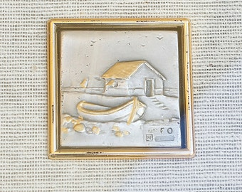 Bas-relief, Bas relief Art,  Silver Gold Painting, Silver Box 925, Etched Art, Wall hanging, Framed Art, Framed Glass Art, vintage art