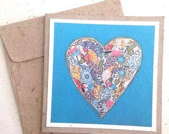 Aqua Greeting Card Blank inside - Elephant Dung Fair trade recycled tree free paper art card