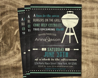 Baby Boy Shower Invitation, Co-ed Baby Shower,  BBQ Baby Shower, Chalkboard, Custom, Spring, Grill, Cookout, Casual, Summer, Barbe Que