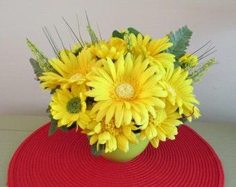Yellow Flower Arrangement, Centerpiece, Yellow Gerbers, Daisy, Dahlia's, Green Ceramic Bowl, Silk Flowers, Floral Arrangement, Summer Silks