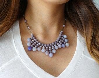 Bib Necklace, Purple Necklace, Bridal Statement Necklace, Boho Chic Jewelry, Gemstone Necklace, Beaded Necklace, Summer Necklace, Lilac