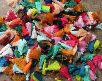 15 Small Colourful Mixed Cotton Tassels Charms 30mm