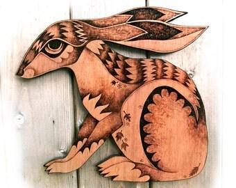 Hare Wall Hanging, wood, Pyrography Wall art, wood burning, hare decor, running hare art, moon gazing hare, woodland decor, wood wallhanging