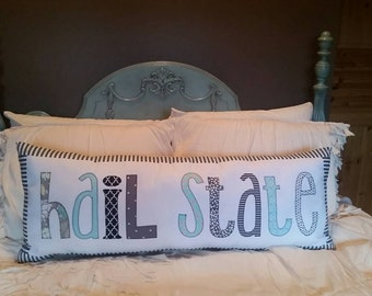 "Made to Order - Mississippi State 'Hail State"" applique pillow"