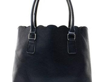 Fashion Faux Leather Scallop Top Tote Bag