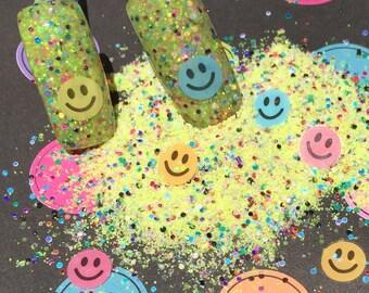 Nail Art Acrylic Gel Glitter Mix    HAPPY NAILS