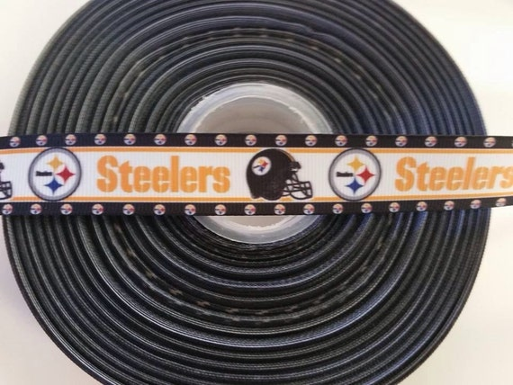 "PITTSBURGH STEELERS NFL 7/8"" 22mm Grosgrain Hair Bow Craft Ribbon 782036"