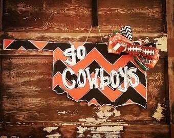 Cowboys door hanger. OSU Cowboys door hanger. Oklahoma door hanger. Oklahoma State Cowboys football door hanger