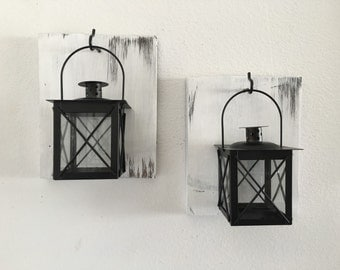 Lantern set, Lantern wall sconces, set of 2, shabby chic, rustic, laterns, candles, wall mount lanterns, bathroom decor, house warming gift