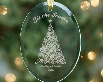Engraved Christmas Tree Ornament, Personalized Ornament
