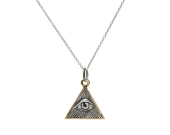 Evil Eye of Providence Necklace Pendant in Sterling Silver