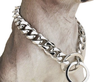 Ultra Strong 20mm Wide Dog Collar Slip Choke Chain - 680 Lbs Strong! Best for Pitbull, Mastiff, Bulldog, & Big Breeds