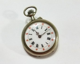 Antique, Pocket Watch, 24 Hour Dial, Multi Color, Red, Gilt, Repair, Steampunk, Beading, Jewelry, Supply, Supplies