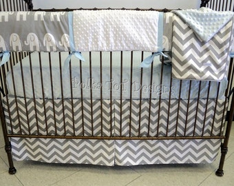 Gray & Baby Blue Bumperless Crib Bedding: Turner  Can also be made w/pink accents