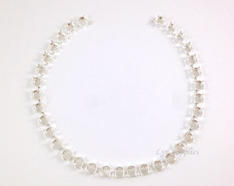 8mm Silver Plated Cup Chain Necklace 33-Settings or 39-Settings Fits Swarovski 39ss 1088