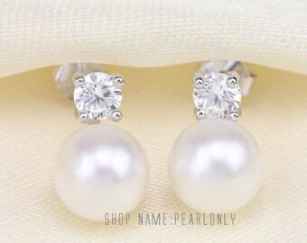freshwater pearl earrings,pearl stud earrings,nickle free earrings,cz stone sterling silver earrings,real pearl earings,bridesmaid earrings