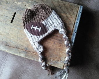 Hand Knit Baby Football Earflap Hat