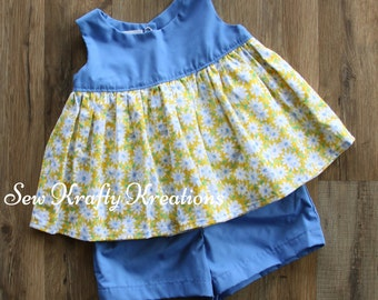 Little Girl's 2 Piece Set - Blue with Yellow Daisies and Blue Cotton Shorts