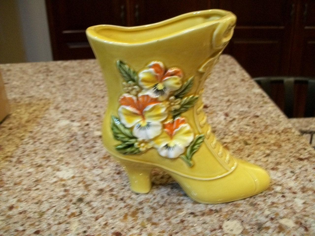 Vintage napco ceramic boot vase made in japan c9117 details beautiful mid century napcoware ceramic boot reviewsmspy