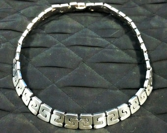Modern Artisan Sterling Silver Necklace Choker Taxco Mexico ca1970s 110grams