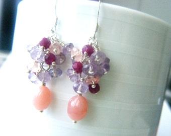 Gemstone earrings Amethyst cluster earrings Opal amethyst sapphire earrings Pink jewelry Sterling silver gemstone jewelry Gift for her